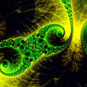 Green Yellow Black Abstract Fractal Art Vivid Colors Poster