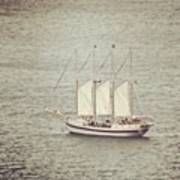 Gray Day And A Tall Ship Poster