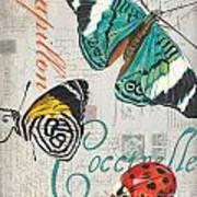 Grey Postcard Butterflies 2 Poster