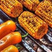 Grilling Corn And Peppers Poster