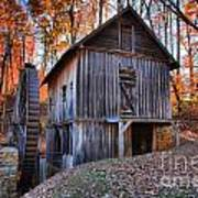 Grist Mill Under Fall Foliage Poster