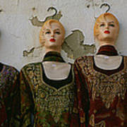 Group Of Mannequins In A Market Stall Poster