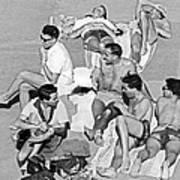 Group Of Men Sunbathing Poster