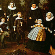 Group Portrait Of Three Generations Of A Family In The Grounds Of A Country House Oil On Canvas Poster