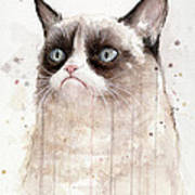 Grumpy Watercolor Cat Poster