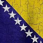 Grunge Bosnia And Hertzegoniva Flag Poster