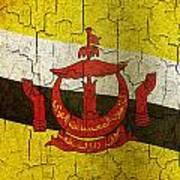 Grunge Brunei Flag Poster