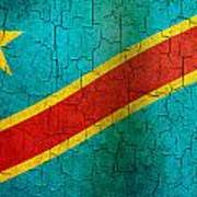 Grunge Democratic Republic Of The Congo Flag Poster