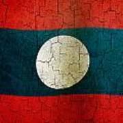 Grunge Laos Flag Poster
