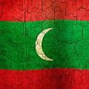 Grunge Maldives Flag Poster