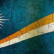 Grunge Marshall Islands Flag Poster