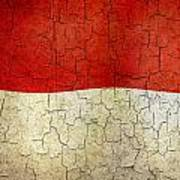 Grunge Monaco Flag Poster