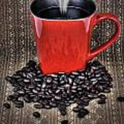 Grunge Red Coffee Mug And Beans Poster