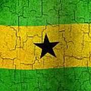 Grunge Sao Tome And Principe Flag Poster