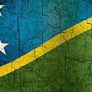 Grunge Solomon Islands Flag Poster