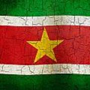 Grunge Suriname Flag Poster