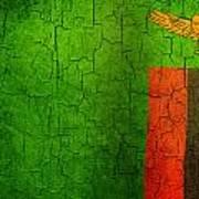 Grunge Zambia Flag Poster