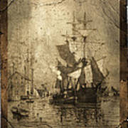 Grungy Historic Seaport Schooner Poster by John Stephens