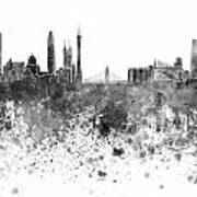 Guangzhou Skyline In Black Watercolor On White Background Poster