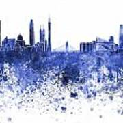 Guangzhou Skyline In Blue Watercolor On White Background Poster