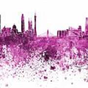 Guangzhou Skyline In Pink Watercolor On White Background Poster