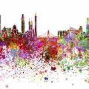 Guangzhou Skyline In Watercolor On White Background Poster