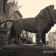 Guarded Lion Statue In Chicago Poster