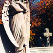Guardian Angel Statue With Cemetery Cross Poster
