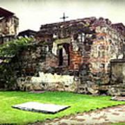 Guatemalan Church Courtyard Ruins Poster