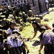 Guatemalan Girls Playing Poster