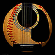 Guitar Baseball Square Poster by Andee Design