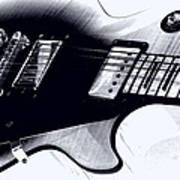 Guitar - Black And White Poster