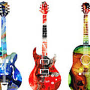 Guitar Threesome - Colorful Guitars By Sharon Cummings Poster by Sharon Cummings