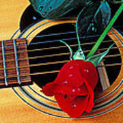Guitar With Single Red Rose Poster