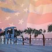 Gulf Shores Beach With Flag Poster