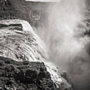 Gullfoss Iceland In Black And White Poster