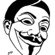 Guy Fawkes Face Original Pop Art Painting Poster