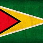 Guyana Flag Vintage Distressed Finish Poster