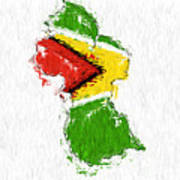 Guyana Painted Flag Map Poster