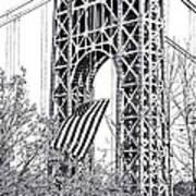 Gw Bridge American Flag In Black And White Poster
