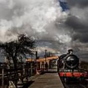 Gwr Steam Train Pulling Into Platform Poster