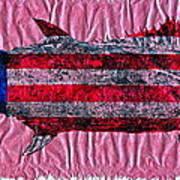 Gyotaku - American Spanish Mackerel - Flag Poster