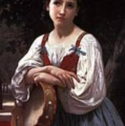 Gypsy Girl With A Basque Drum Poster