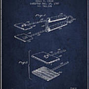 Hair Straightener Patent From 1909 - Navy Blue Poster