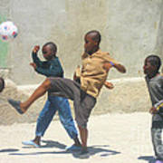Haitian Boys Playing Soccer Poster