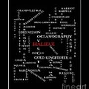 Halifax Nova Scotia Crosswords Red Poster
