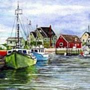 Peggys Cove Nova Scotia Watercolor Poster
