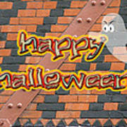 Halloween Greeting Card - Brick Wall In Philadelphia Poster
