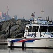 Halton Police Boat And Cn Tower Poster