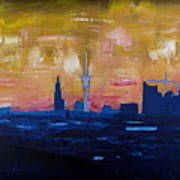 Hamburg Skyline At Dusk With Elbe Philharmonic Hall Poster